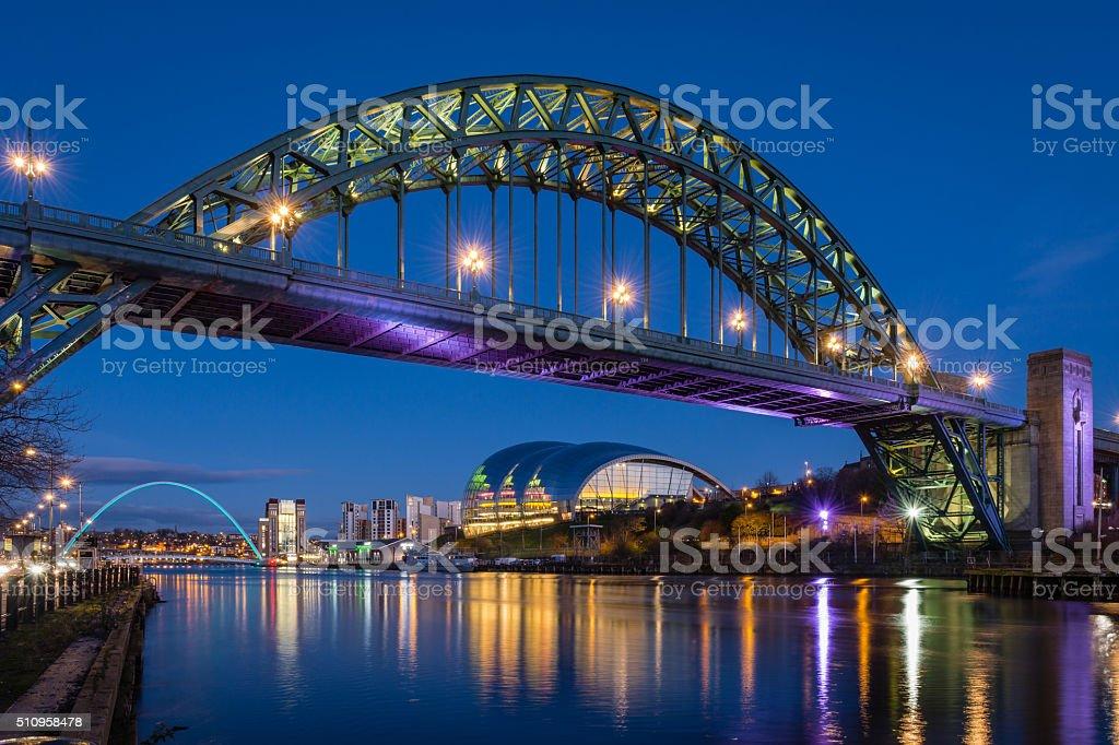Tyne Bridge at night stock photo