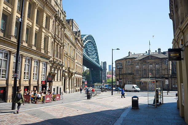 Tyne Bridge from Newcastle Quayside stock photo