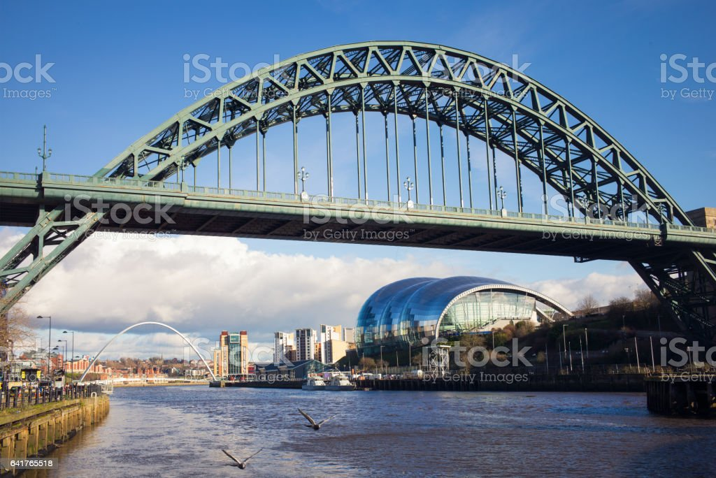 Tyne Bridge in Newcastle, UK on a sunny day stock photo