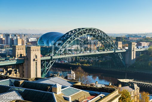 Elevated view of the iconic Tyne Bridge in Newcastle, England, UK