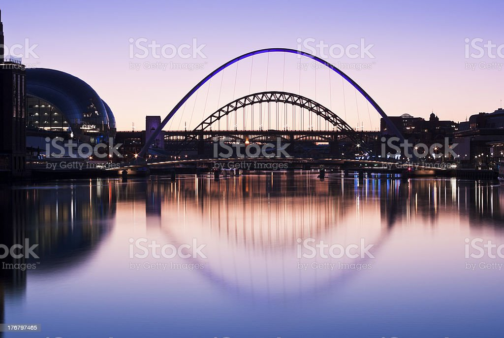 Tyne Bridges At Sundown In Winter stock photo