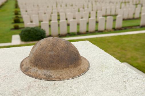 Tyne Cot Cemetery & British Helmet