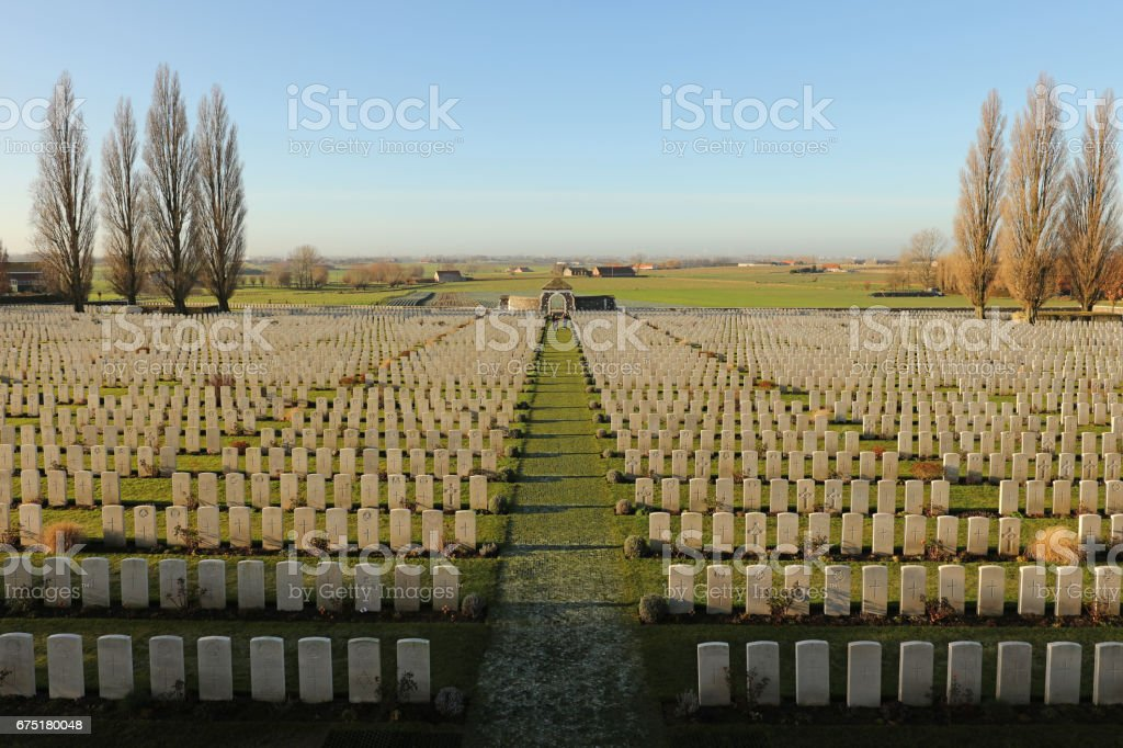 Tyne Cot Cemetery - Flanders Fields Belgium stock photo