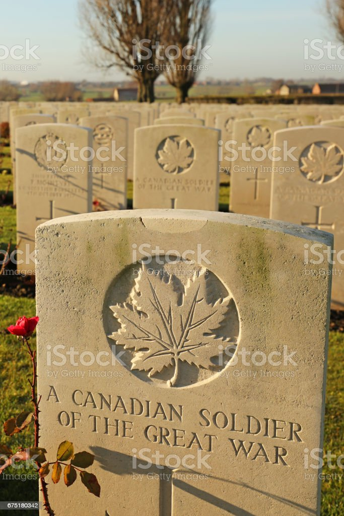 Tyne Cot Cemetery Grave to an Unknown Canadian Soldier stock photo