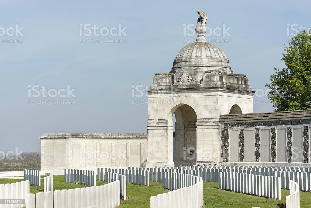 Tyne Cot Commonwealth Memorial near Ypres royalty-free stock photo