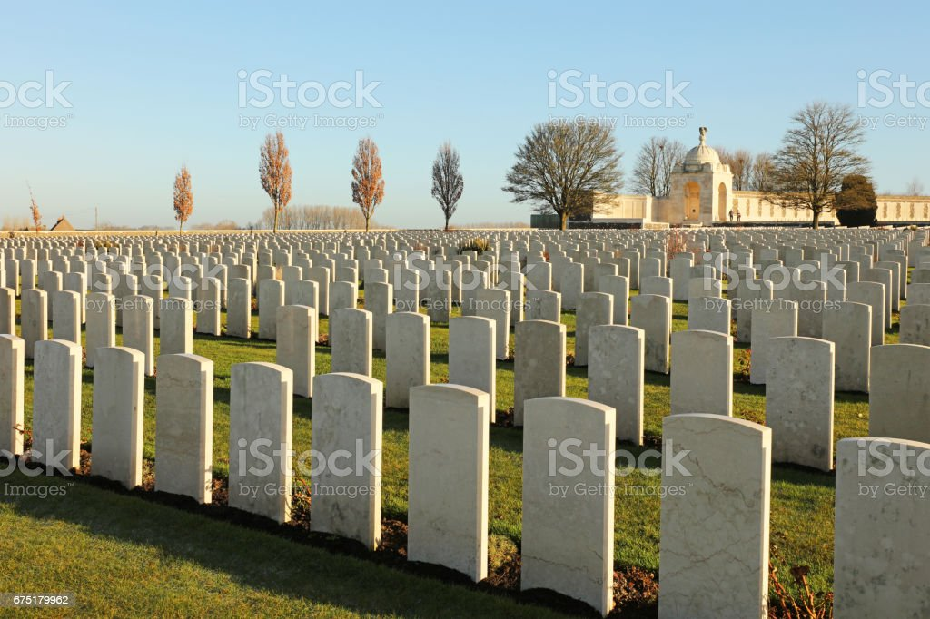 Tyne Cot WWI Memorial Cemetery - Flanders Fields Belgium stock photo