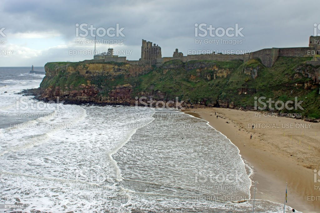 Tynemouth Headland and beach stock photo