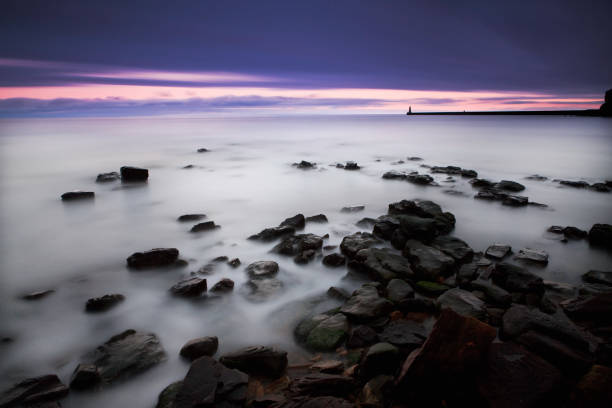 Tynemouth Sunset Seascape stock photo