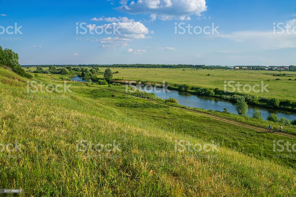 Tyosha river and meadows. City of Arzamas. stock photo