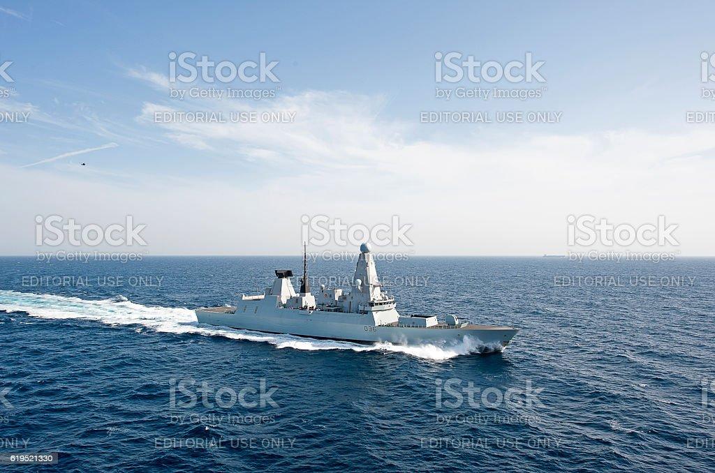 Type 45 at speed, Arabian Sea stock photo