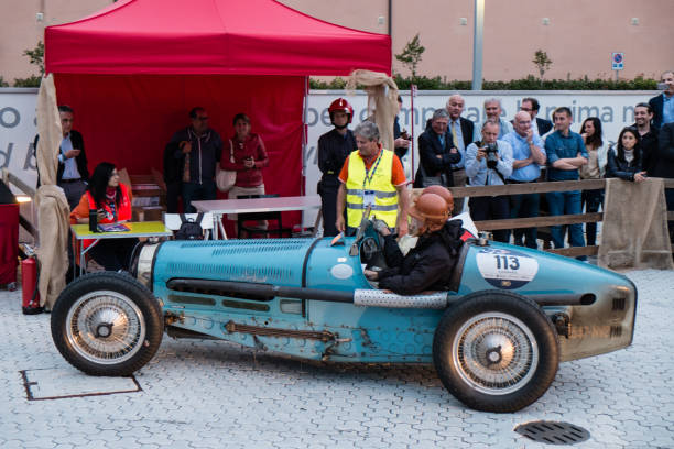 BUGATTI Type 59 an old racing car in rally Mille Miglia 2017, the famous italian historical race, passage control at Museum Enzo Ferrari stock photo