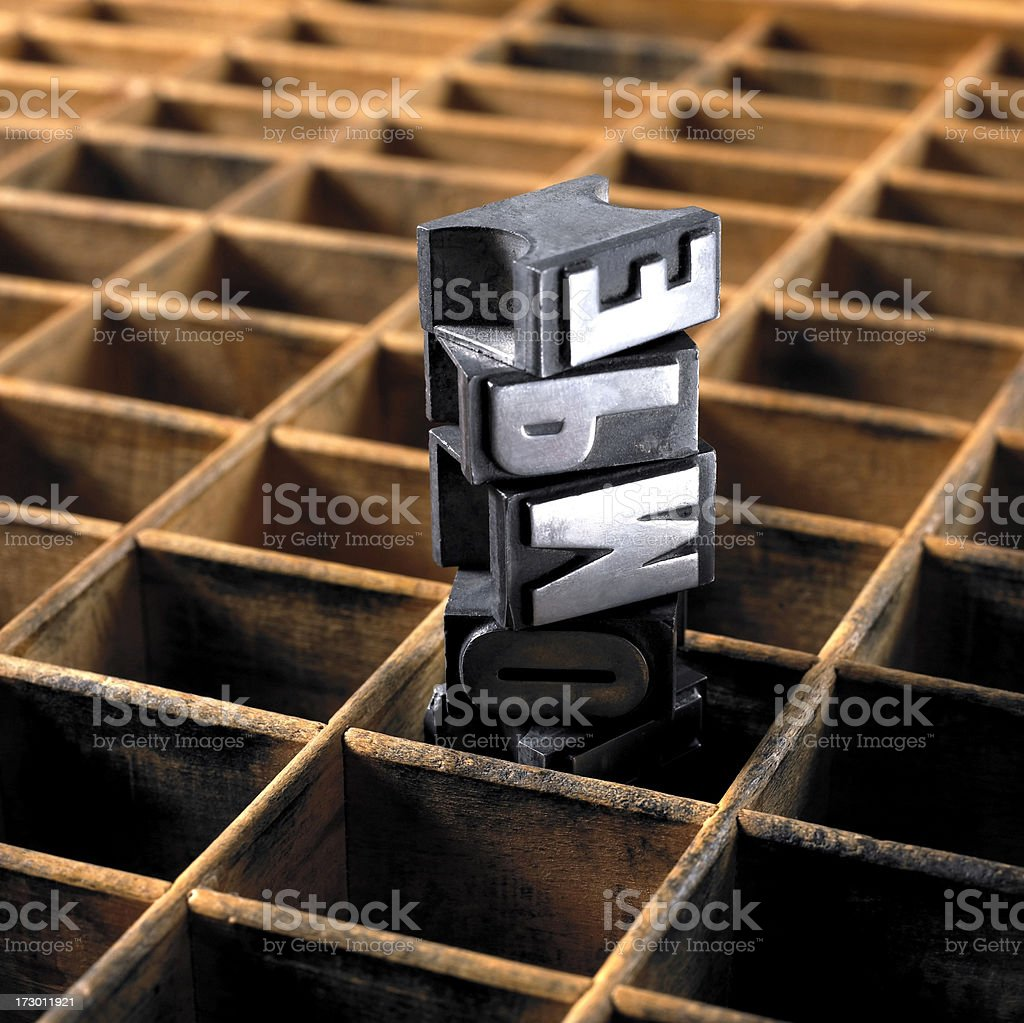 Type drawer and wooden letters royalty-free stock photo