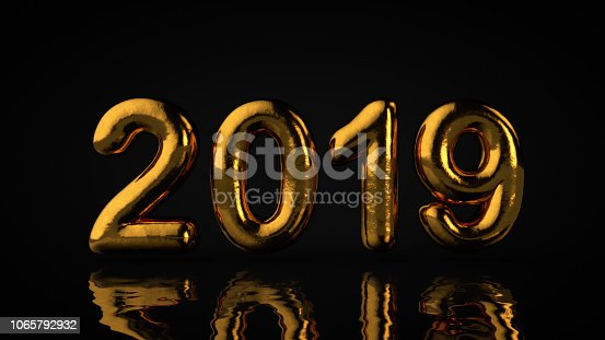 istock 2019 Type, Gold Textured Text With Liquid Reflection, Black Background 1065792932