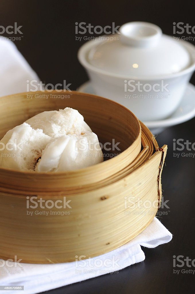 Type of Chinese Steamed Bun with tea cup stock photo