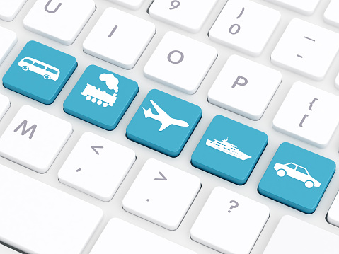 Bus, Train, Plane, Ship and Car button on computer keyboard