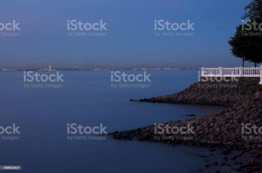 Type on Seaport of St. Petersburg stock photo
