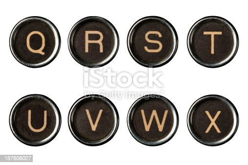 The Type writer keys alphabet with clipping paths