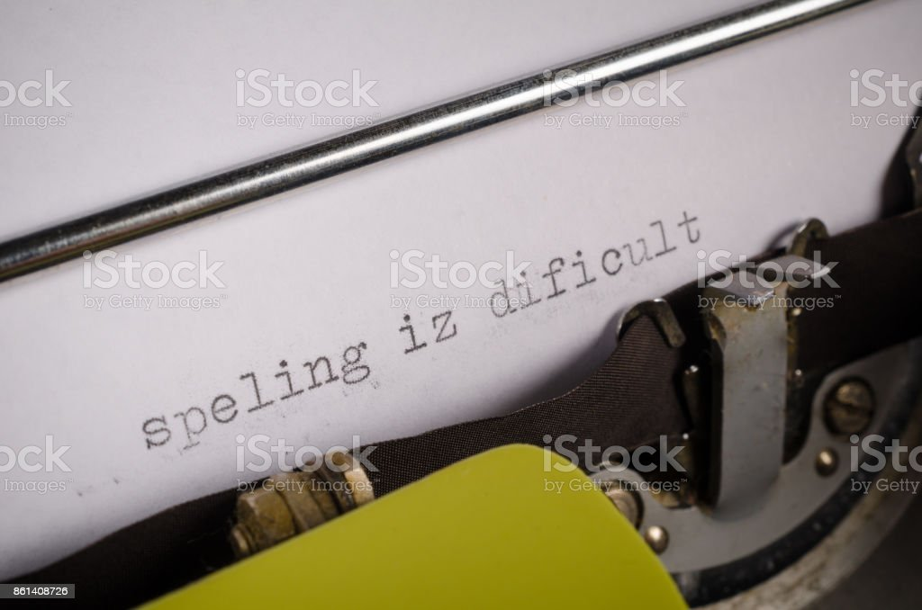 Typed text with spelling mistakes stock photo