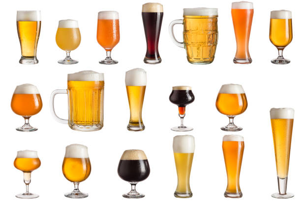 Types of craft beer Multiple various glasses of different types of cold craft beer isolated on white background beer glass stock pictures, royalty-free photos & images