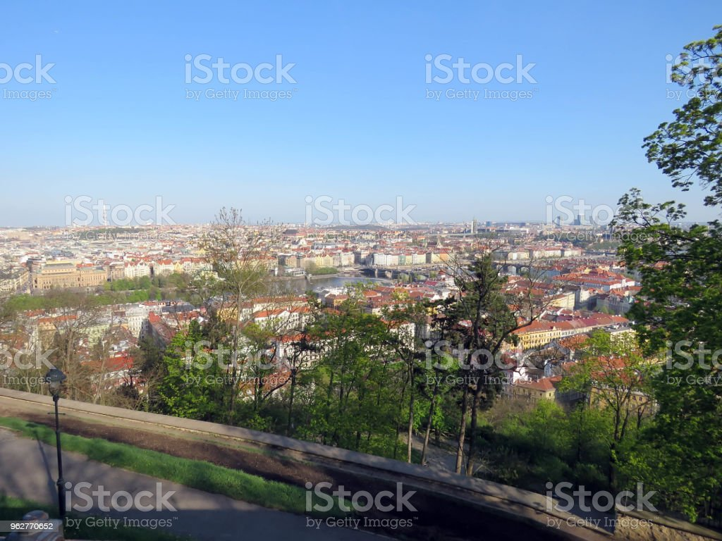 types of Prague in sunny day - Foto stock royalty-free di Acciottolato