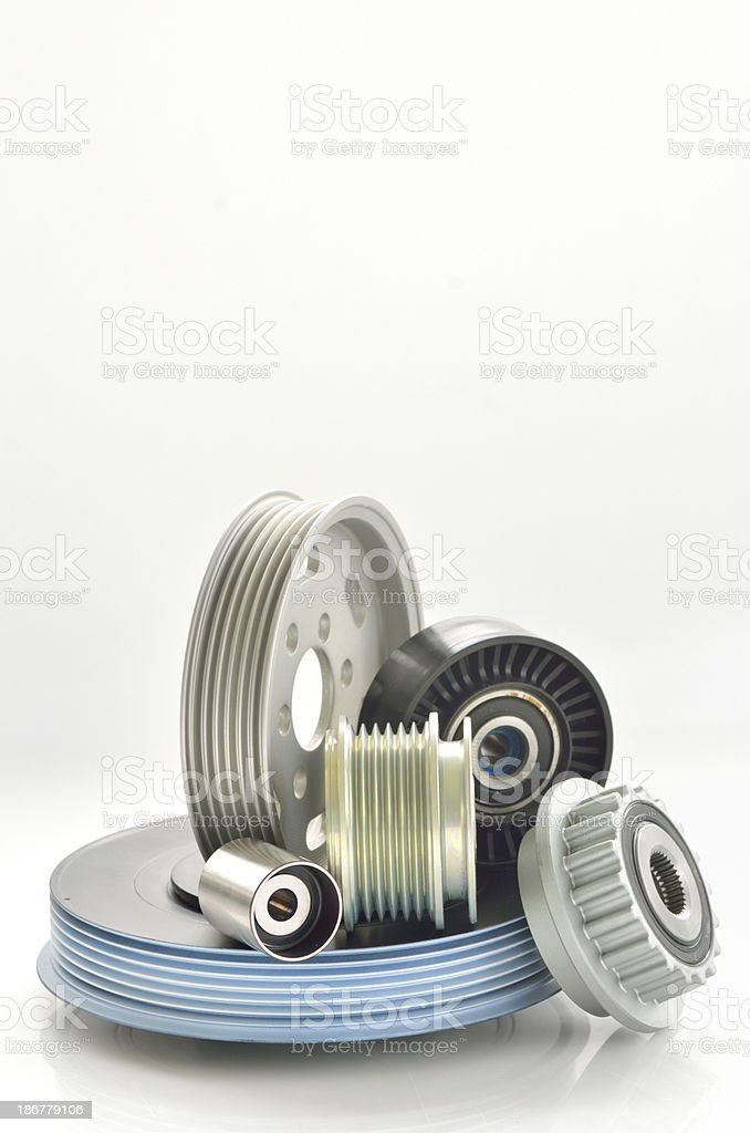 types of roller and timing belt transmission stock photo