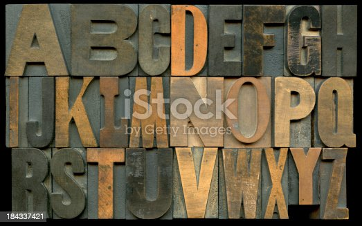 Wooden type blocks for hand typesetting or letterpress printing.