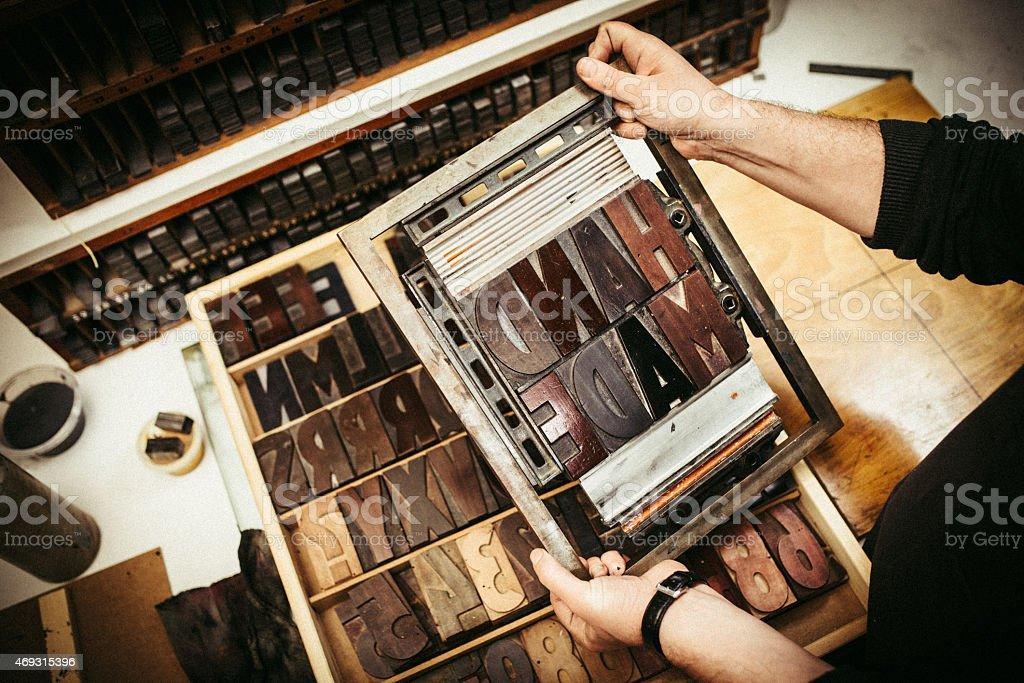 Typesetting for Letterpress Printing stock photo