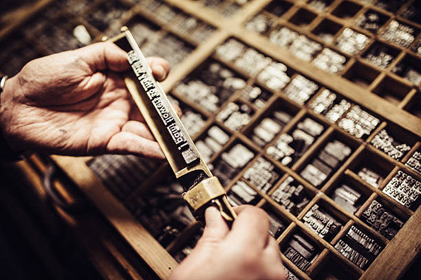 typesetting for letterpress printing - letterpress stock photos and pictures