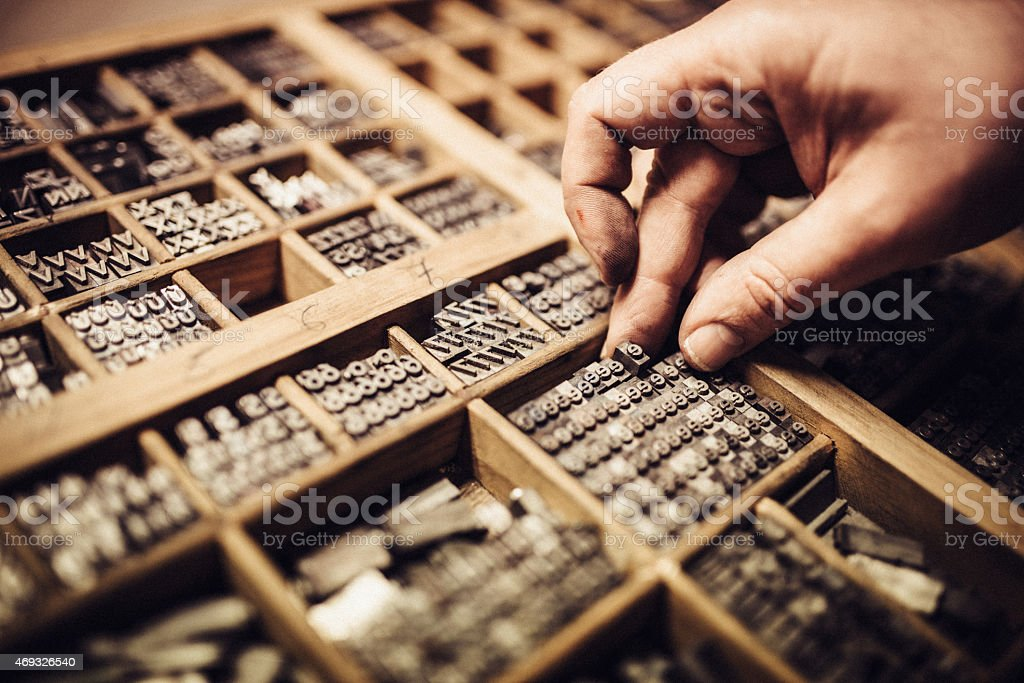 Typesetting for Letterpress Printing stock photo