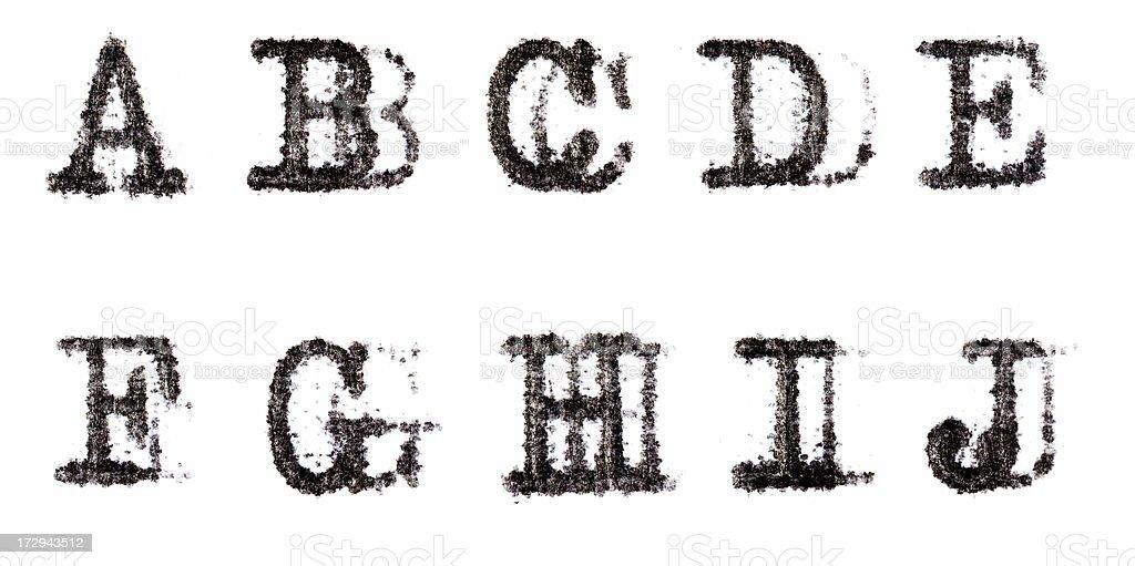 Typewriter Alphabet A-J stock photo