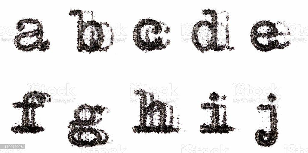 Typewriter Alphabet a-j (lower case) stock photo