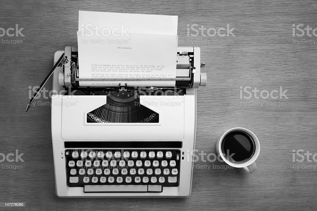 Typewriter and cofee stock photo