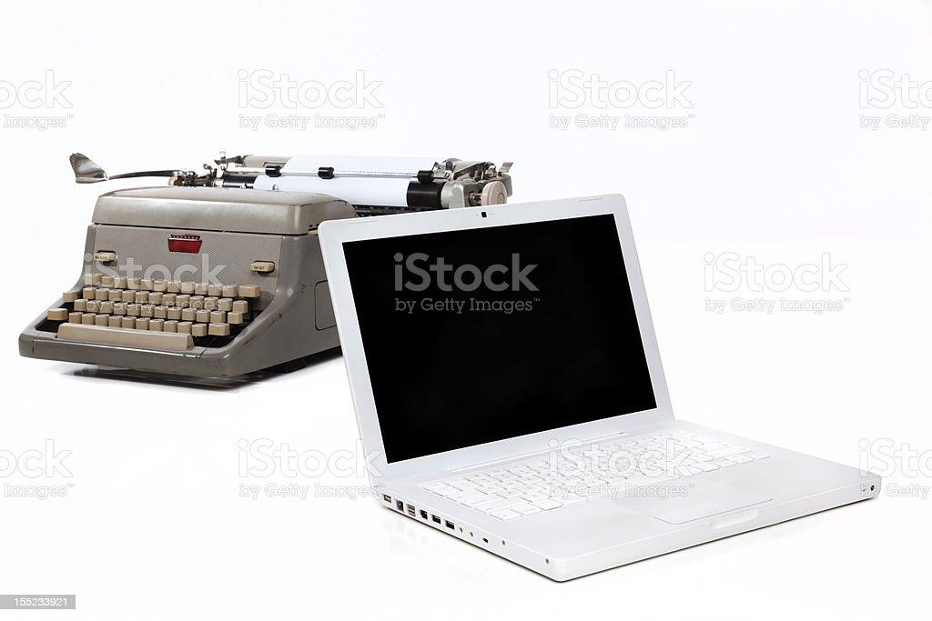Typewriter and Laptop royalty-free stock photo