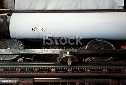 istock Typewriter caption: Blog 579757014