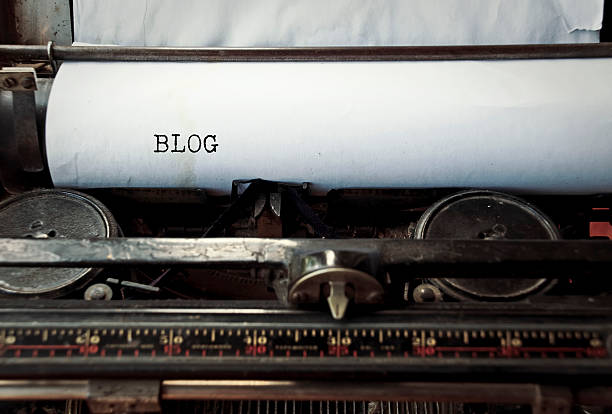 Typewriter caption: Blog stock photo