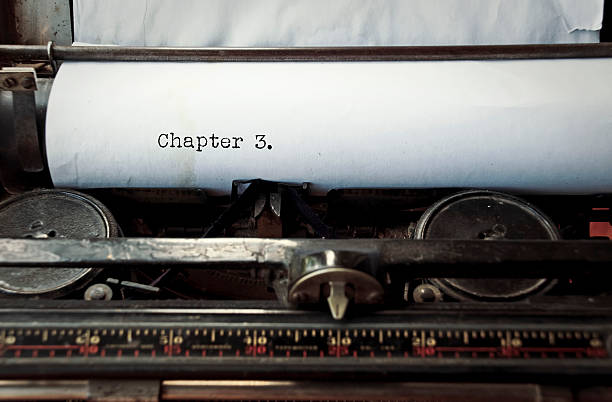 Typewriter caption: Chapter 3 stock photo