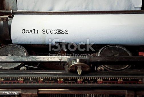 istock Typewriter caption: Goal: Success 579757248