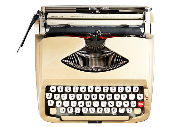 typewriter, cut out on white background stock photo