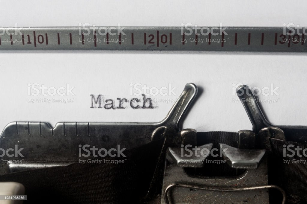 Typewriter Font March Stock Photo - Download Image Now - iStock