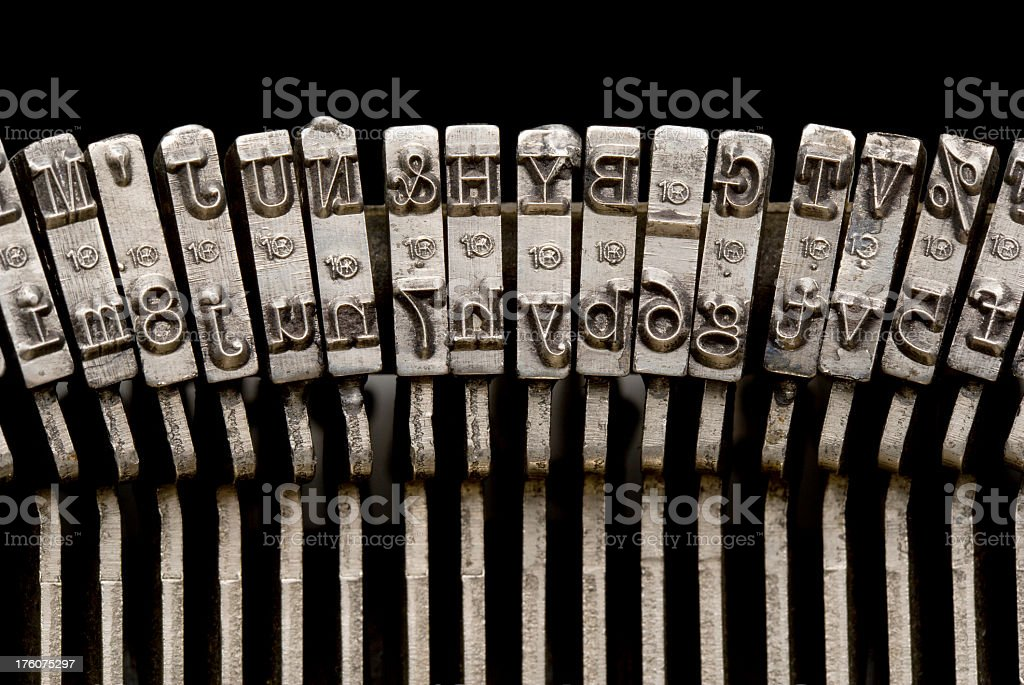 Typewriter Keyes, Close-Up. Full Frame. stock photo