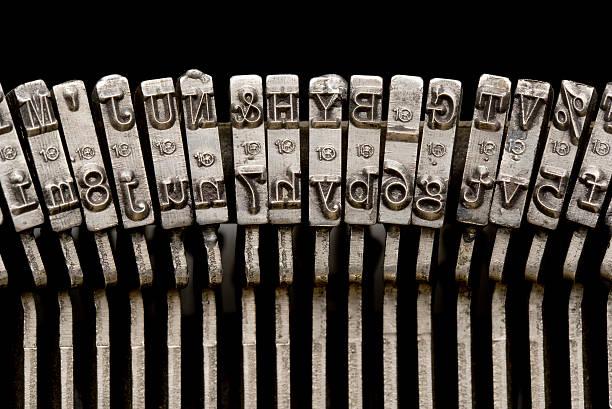 Typewriter Keyes, Close-Up. Full Frame. stock photo