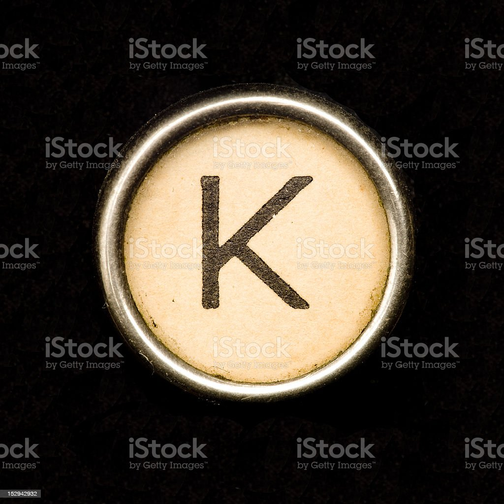 Typewriter letter K stock photo