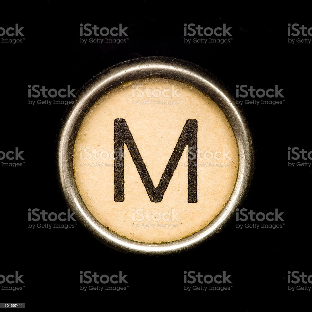 Typewriter letter M royalty-free stock photo