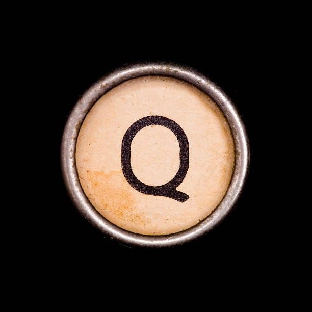 Typewriter letter Q stock photo