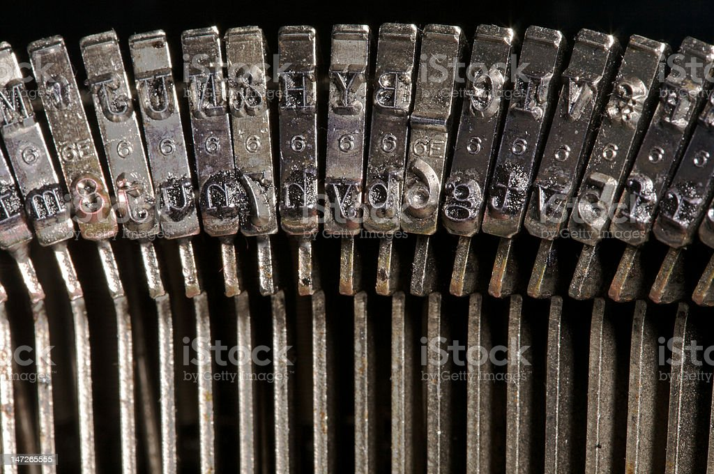 Typewriter letters in closeup royalty-free stock photo