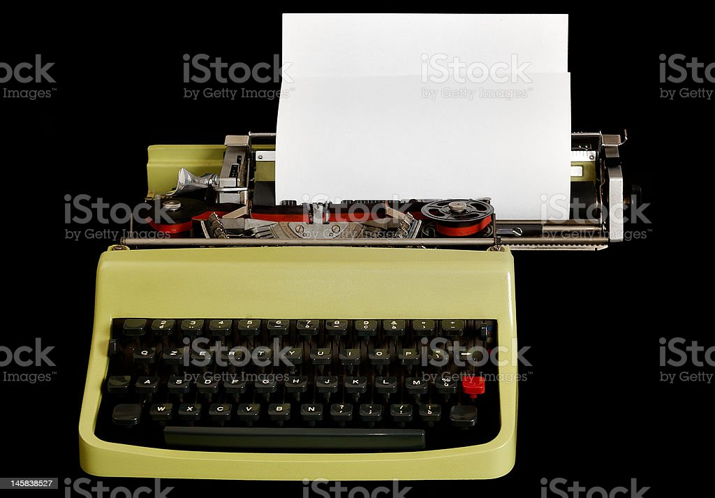 Typewriter on black, your message here royalty-free stock photo