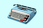 A blue electric typewriter isolated on a blue background.