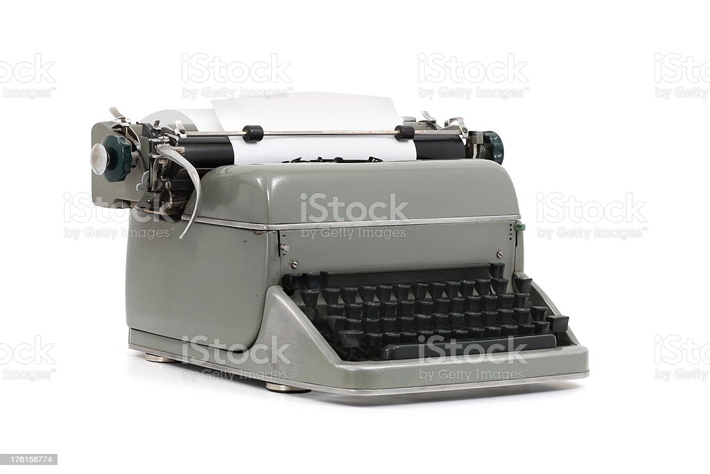 "Typewriter ""A vintage typewriter, isolated on white background."" Antique Stock Photo"