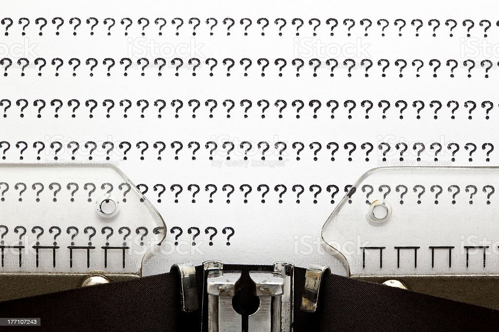 Typewriter QUESTION MARKS royalty-free stock photo
