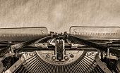 typewriter. sheet of paper. retro